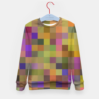geometric square pixel pattern abstract in yellow green purple Kid's sweater thumbnail image