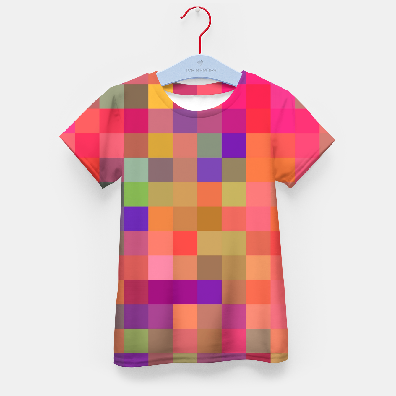 Image of geometric square pixel pattern abstract in pink blue yellow Kid's t-shirt - Live Heroes