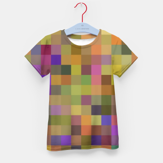 Thumbnail image of geometric square pixel pattern abstract in yellow green purple Kid's t-shirt, Live Heroes