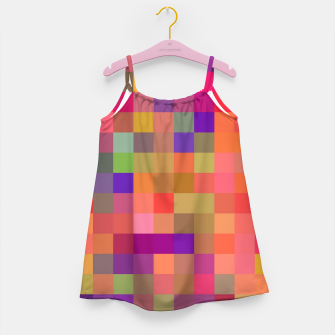geometric square pixel pattern abstract in pink blue yellow Girl's dress thumbnail image