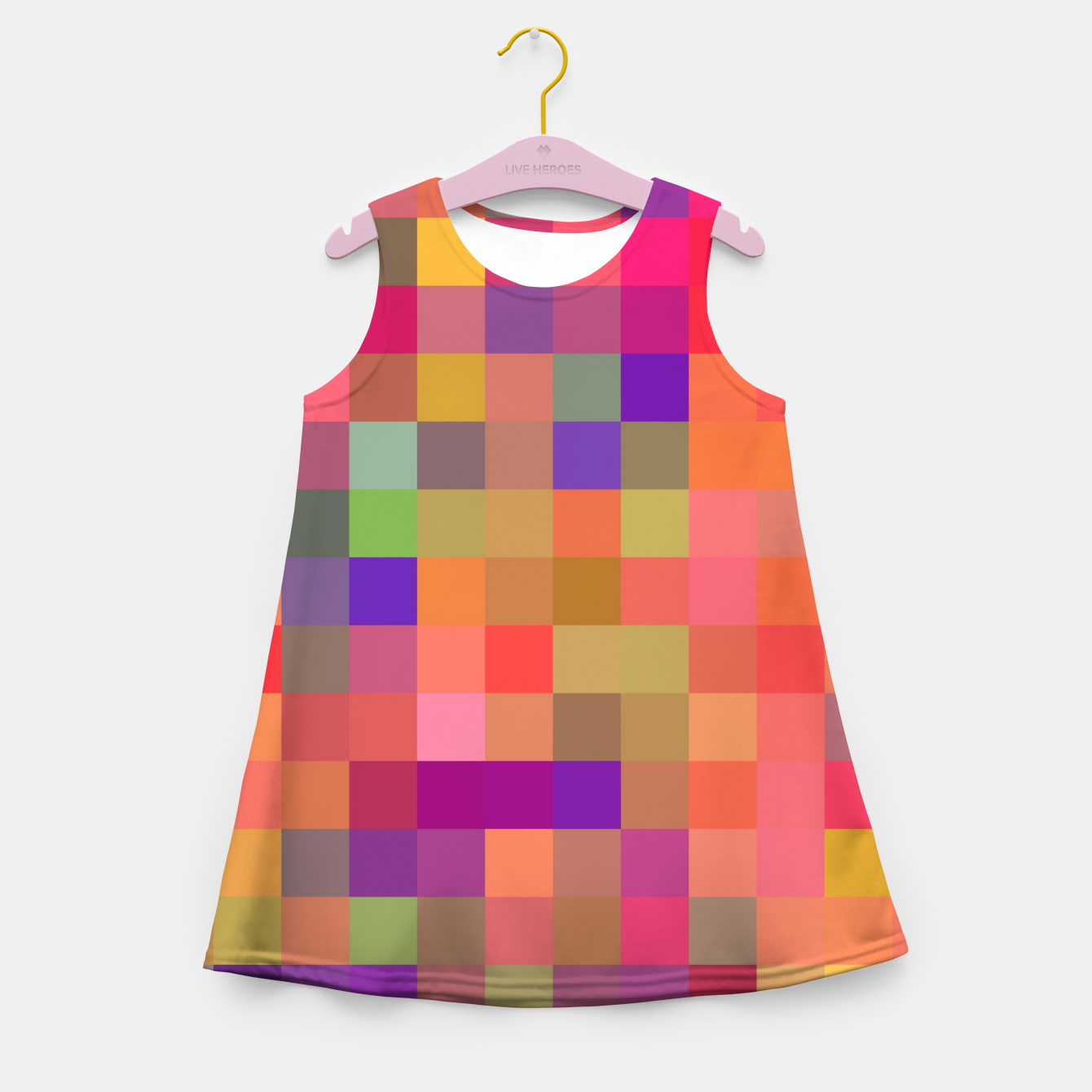 Image of geometric square pixel pattern abstract in pink blue yellow Girl's summer dress - Live Heroes