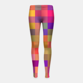 Thumbnail image of geometric square pixel pattern abstract in pink blue yellow Girl's leggings, Live Heroes