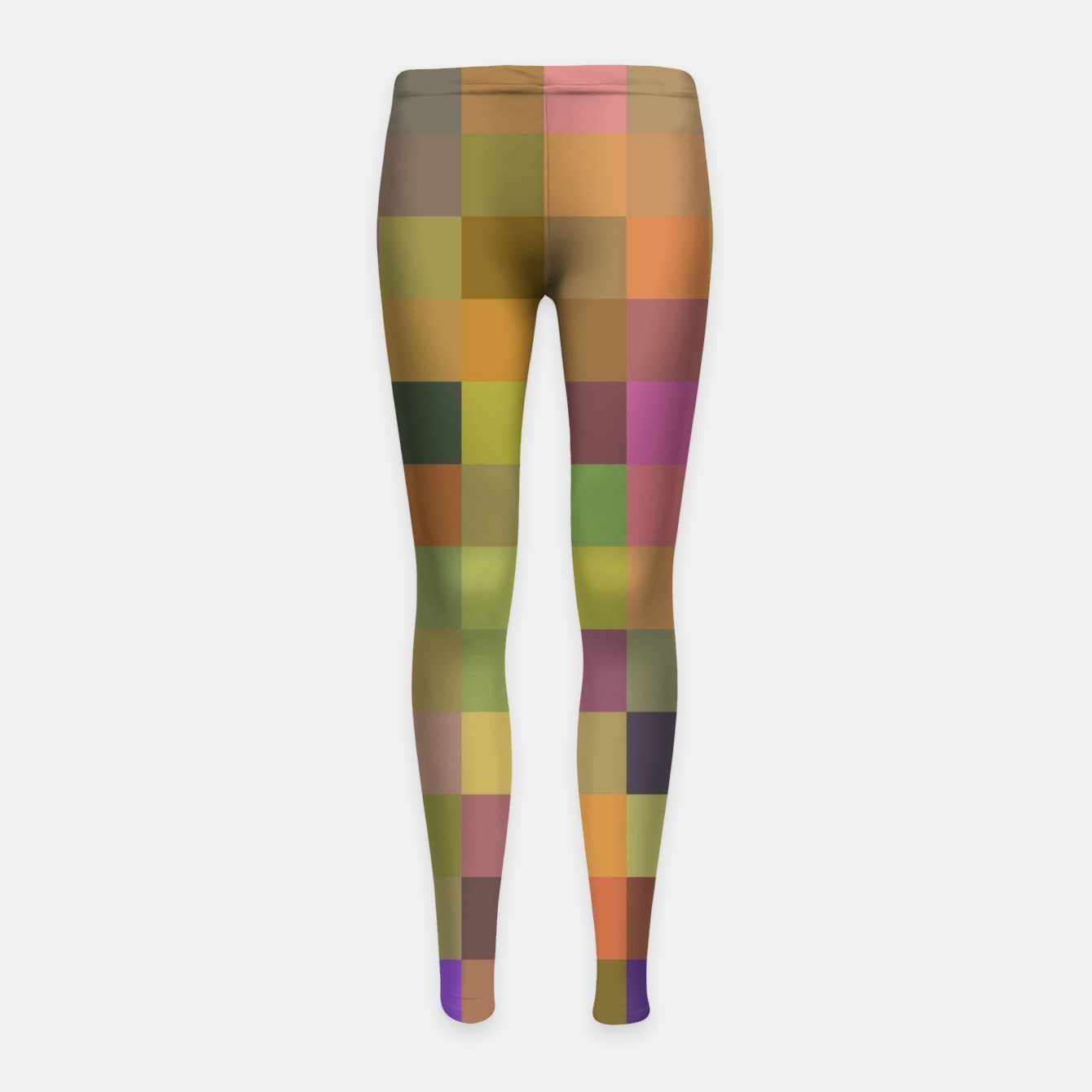 Image of geometric square pixel pattern abstract in yellow green purple Girl's leggings - Live Heroes