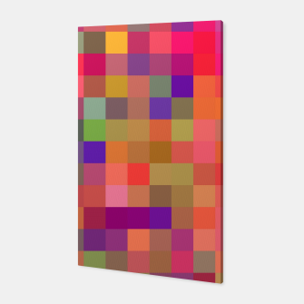 geometric square pixel pattern abstract in pink blue yellow Canvas thumbnail image
