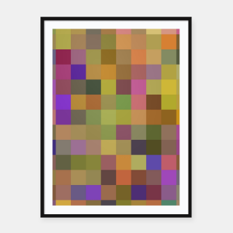 Thumbnail image of geometric square pixel pattern abstract in yellow green purple Framed poster, Live Heroes