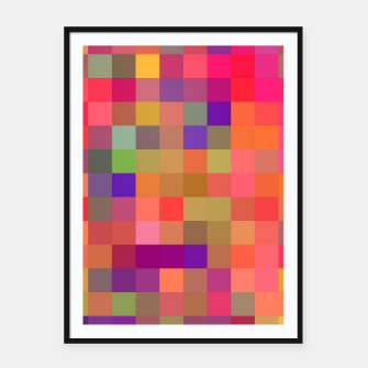 Thumbnail image of geometric square pixel pattern abstract in pink blue yellow Framed poster, Live Heroes