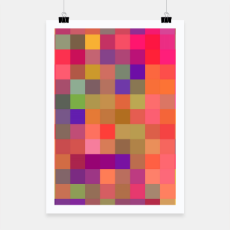 geometric square pixel pattern abstract in pink blue yellow Poster thumbnail image