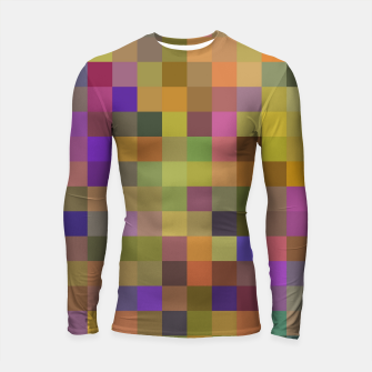 Thumbnail image of geometric square pixel pattern abstract in yellow green purple Longsleeve rashguard , Live Heroes