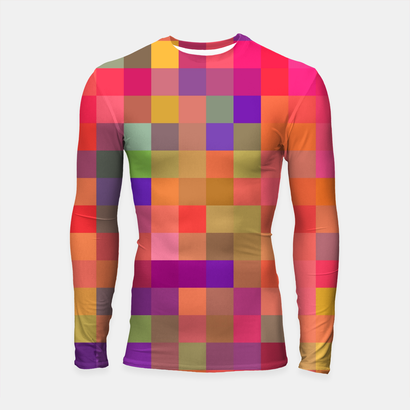Image of geometric square pixel pattern abstract in pink blue yellow Longsleeve rashguard  - Live Heroes