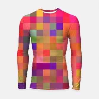 Thumbnail image of geometric square pixel pattern abstract in pink blue yellow Longsleeve rashguard , Live Heroes