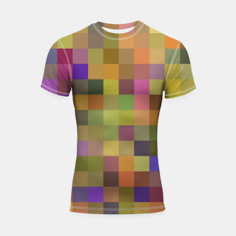 Thumbnail image of geometric square pixel pattern abstract in yellow green purple Shortsleeve rashguard, Live Heroes