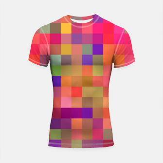 Thumbnail image of geometric square pixel pattern abstract in pink blue yellow Shortsleeve rashguard, Live Heroes