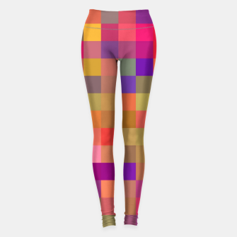 Thumbnail image of geometric square pixel pattern abstract in pink blue yellow Leggings, Live Heroes