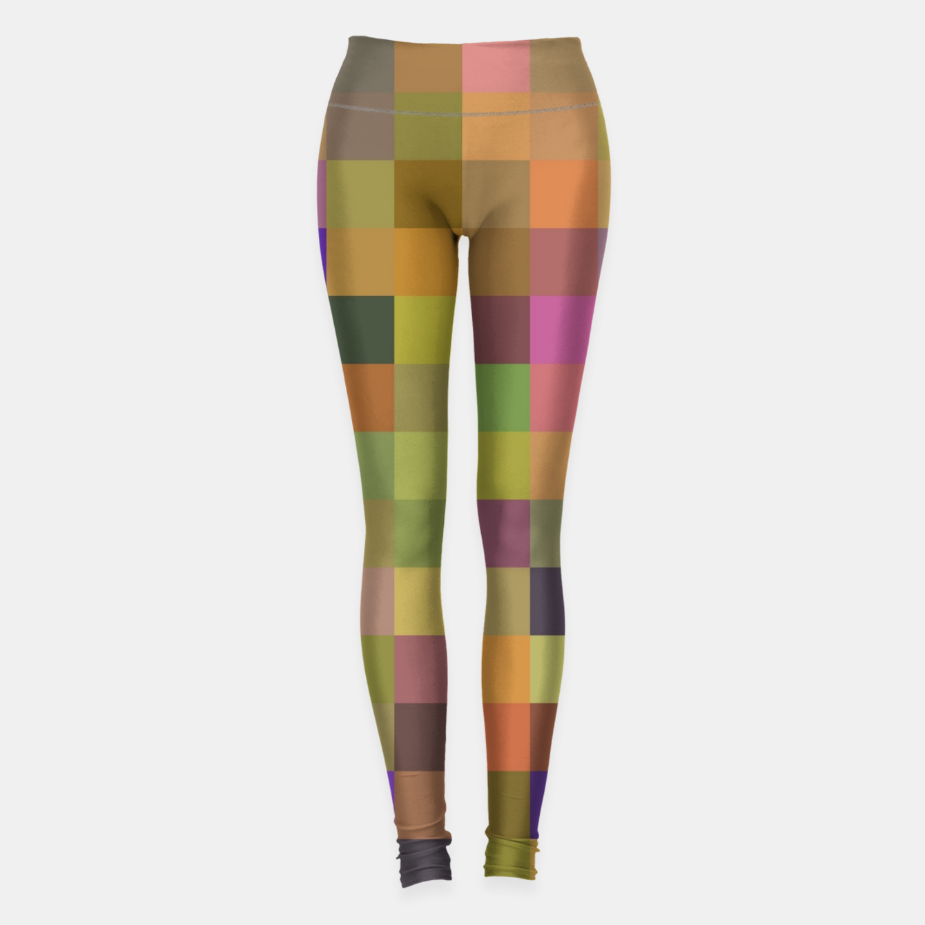 Image of geometric square pixel pattern abstract in yellow green purple Leggings - Live Heroes