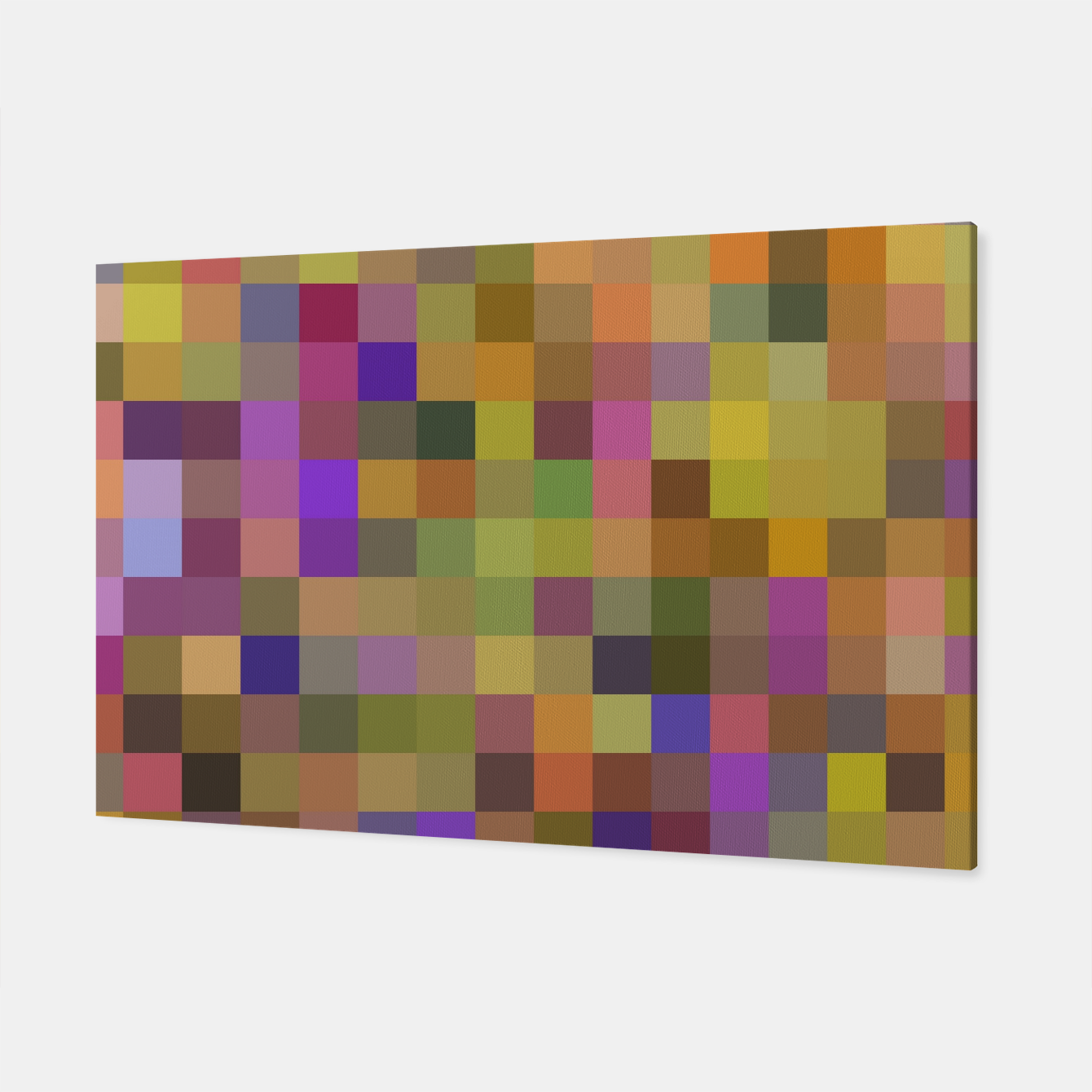 Image of geometric square pixel pattern abstract in yellow green purple Canvas - Live Heroes
