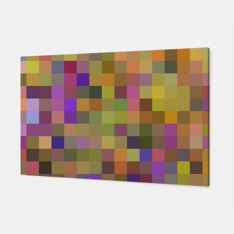 Thumbnail image of geometric square pixel pattern abstract in yellow green purple Canvas, Live Heroes