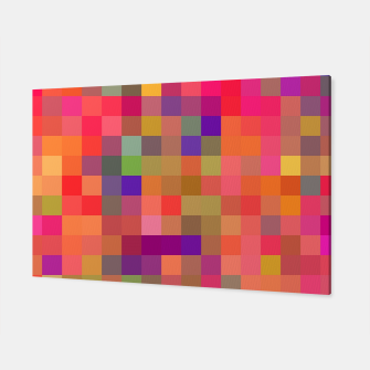 Thumbnail image of geometric square pixel pattern abstract in pink blue yellow Canvas, Live Heroes