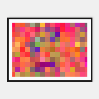Miniaturka geometric square pixel pattern abstract in pink blue yellow Framed poster, Live Heroes