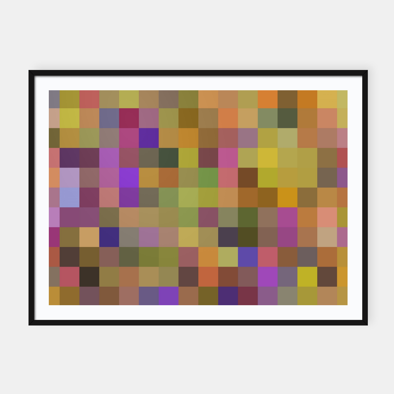 Image of geometric square pixel pattern abstract in yellow green purple Framed poster - Live Heroes