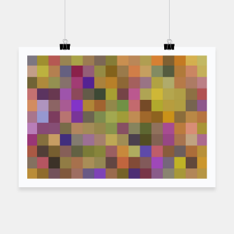 Thumbnail image of geometric square pixel pattern abstract in yellow green purple Poster, Live Heroes