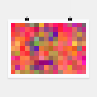 Miniaturka geometric square pixel pattern abstract in pink blue yellow Poster, Live Heroes