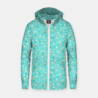 Miniatur Candy Camouflage in Aquamarine Zip up hoodie, Live Heroes