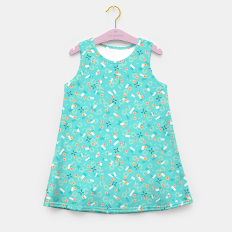 Miniatur Candy Camouflage in Aquamarine Girl's summer dress, Live Heroes