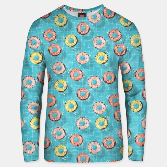 Imagen en miniatura de Chocolate Donut floats in the Summer Pool Unisex sweater, Live Heroes
