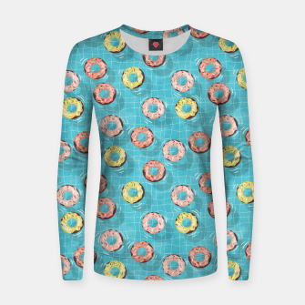 Imagen en miniatura de Chocolate Donut floats in the Summer Pool Women sweater, Live Heroes