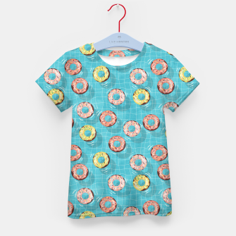 Imagen en miniatura de Chocolate Donut floats in the Summer Pool Kid's t-shirt, Live Heroes