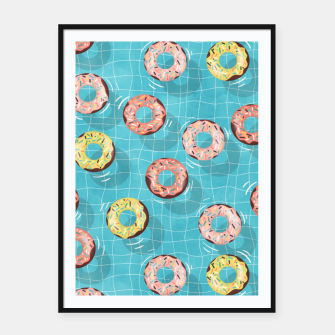 Imagen en miniatura de Chocolate Donut floats in the Summer Pool Framed poster, Live Heroes