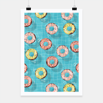 Imagen en miniatura de Chocolate Donut floats in the Summer Pool Poster, Live Heroes