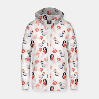 Girls with Tropical Flowers Zip up hoodie thumbnail image