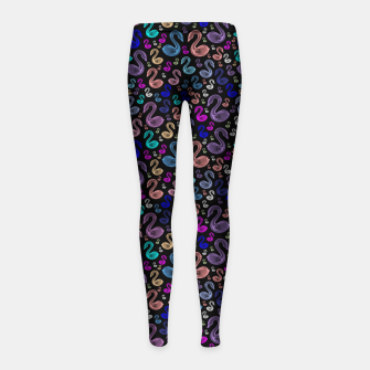 Thumbnail image of Enchanted Swans Girl's leggings, Live Heroes