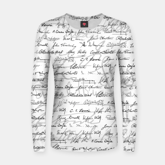 Thumbnail image of Literary Giants Pattern II Women sweater, Live Heroes