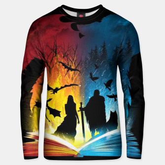 Thumbnail image of Book of Fire and Ice Unisex sweater, Live Heroes