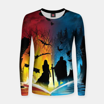 Thumbnail image of Book of Fire and Ice Women sweater, Live Heroes