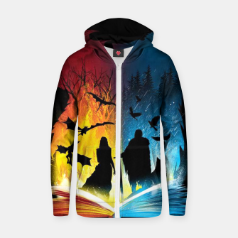 Thumbnail image of Book of Fire and Ice Zip up hoodie, Live Heroes
