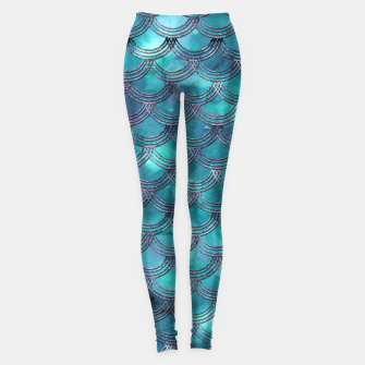 Teal Purple Mermaid Scales Glam #1 #shiny #decor #art Leggings obraz miniatury