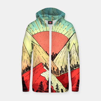 Miniatur Retro mountain hills Zip up hoodie, Live Heroes