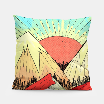 Miniatur Retro mountain hills Pillow, Live Heroes