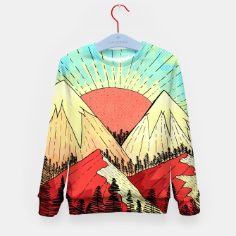 Miniatur Retro mountain hills Kid's sweater, Live Heroes