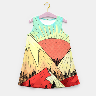 Miniatur Retro mountain hills Girl's summer dress, Live Heroes