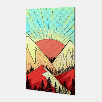Miniatur Retro mountain hills Canvas, Live Heroes