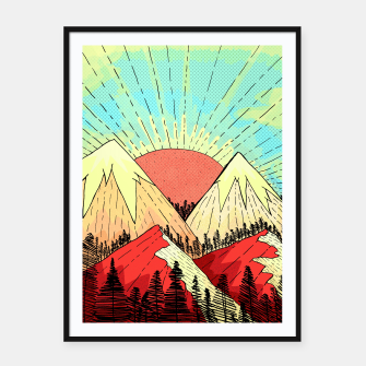 Thumbnail image of Retro mountain hills Framed poster, Live Heroes