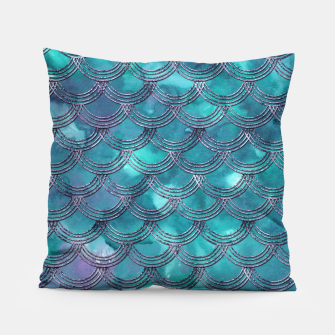 Teal Purple Mermaid Scales Glam #1 #shiny #decor #art Kissen obraz miniatury