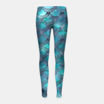 Teal Purple Mermaid Scales Glam #1 #shiny #decor #art Kinder-Leggins obraz miniatury