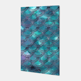 Teal Purple Mermaid Scales Glam #1 #shiny #decor #art Canvas obraz miniatury