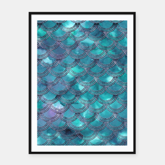 Teal Purple Mermaid Scales Glam #1 #shiny #decor #art Plakat mit rahmen obraz miniatury