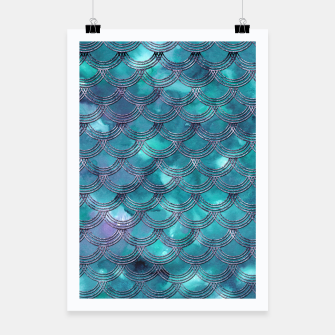 Teal Purple Mermaid Scales Glam #1 #shiny #decor #art Plakat obraz miniatury